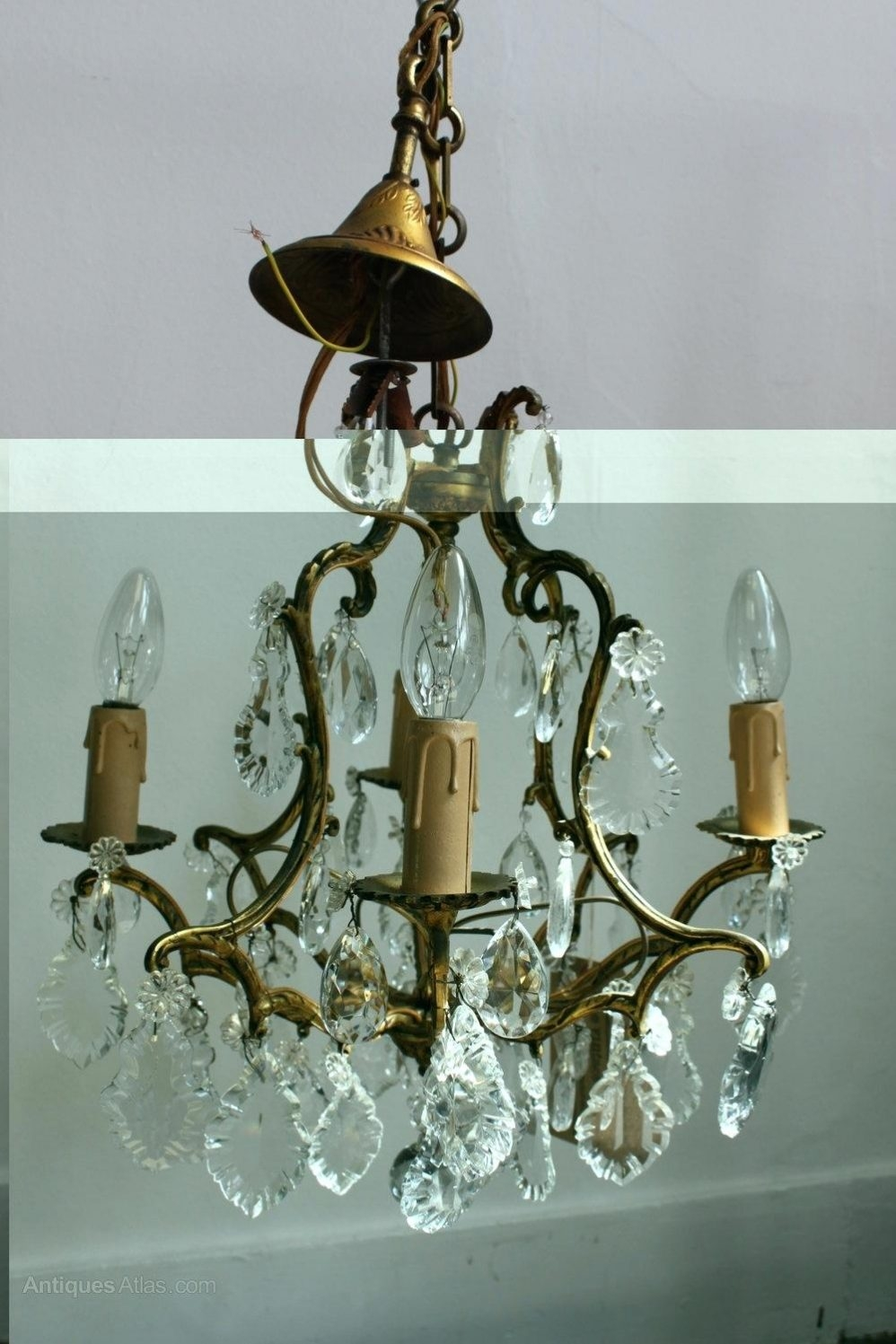 Blue Glass Chandelier French Brass Chandelier Antique Lighting Throughout French Glass Chandelier (Image 3 of 15)