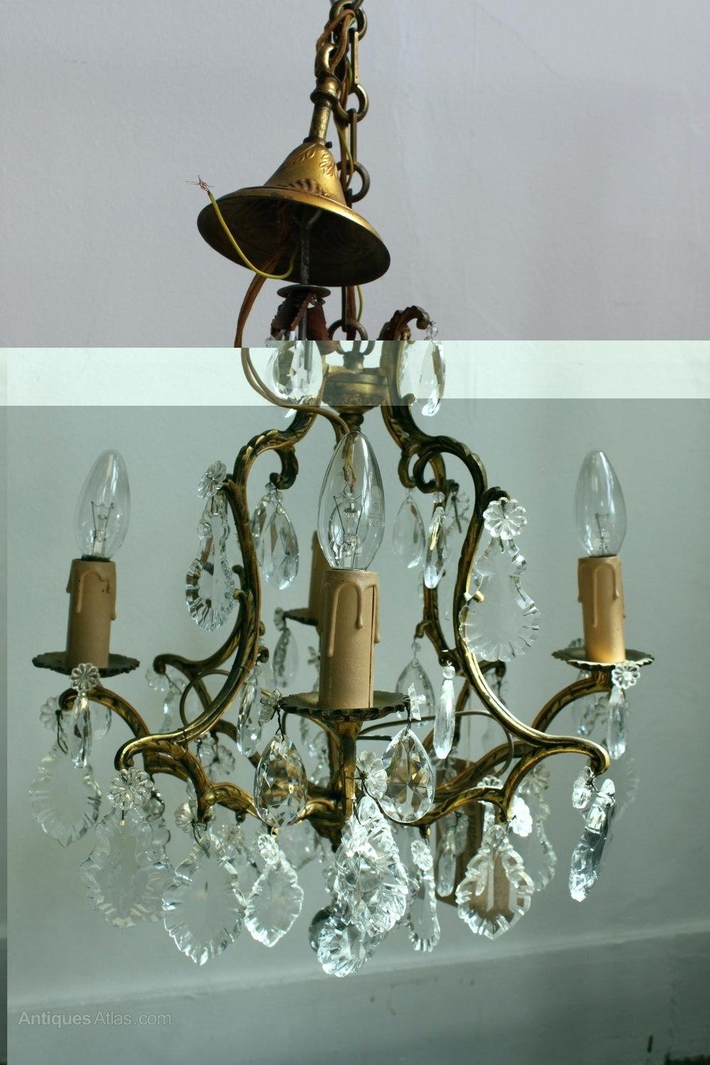 Blue Glass Chandelier French Brass Chandelier Antique Lighting Within Antique French Chandeliers (View 6 of 15)