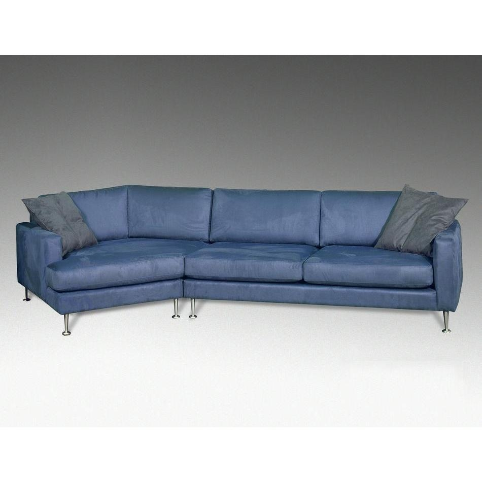 Blue Leather Sectional Bold Modern Furniture Regarding Angled Chaise Sofa (Image 8 of 15)