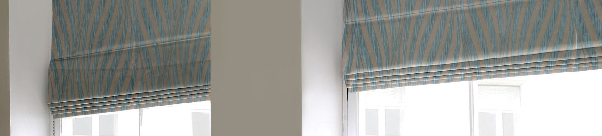 Blue Roman Blinds Included Curtains Striped Sky Blue Valance With Regard To Blue Roman Blinds (Image 6 of 15)