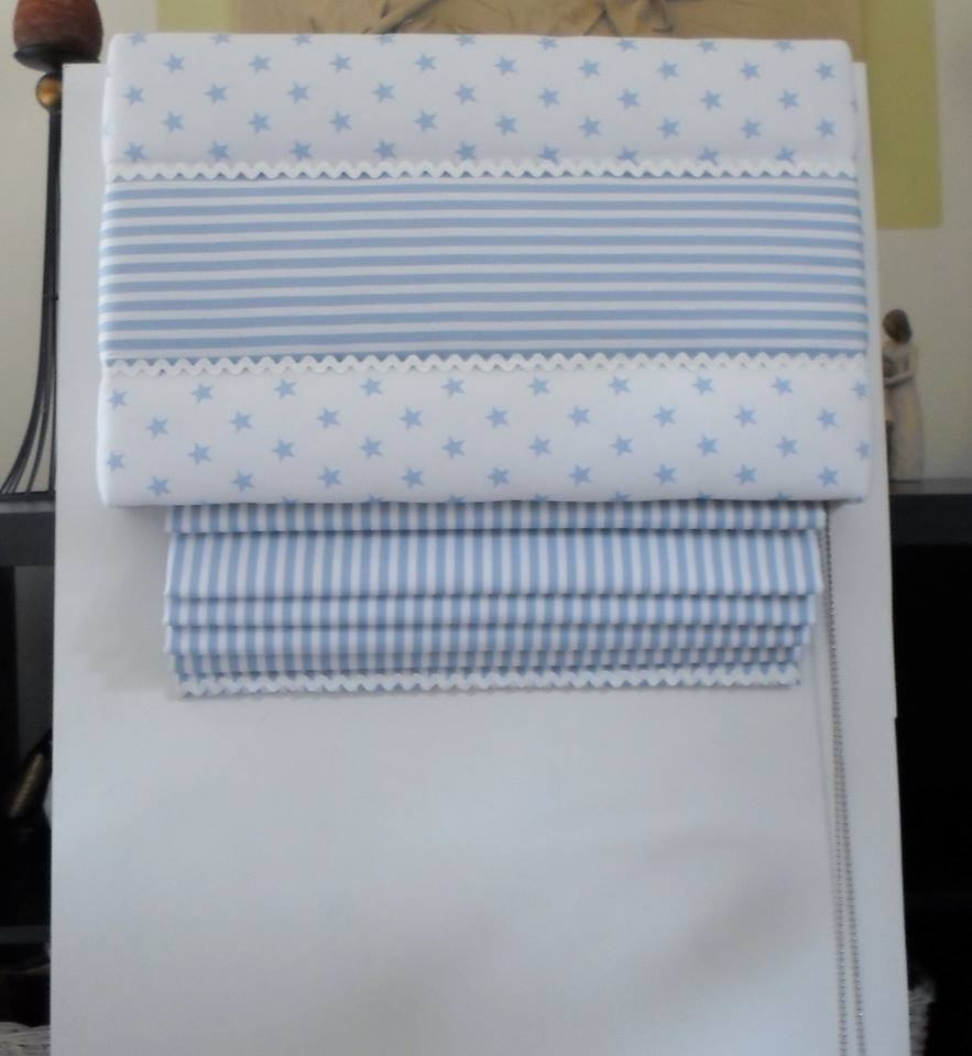 Blue Roman Blinds Included Curtains Striped Sky Blue Valance Within Blue Roman Blinds (Image 7 of 15)