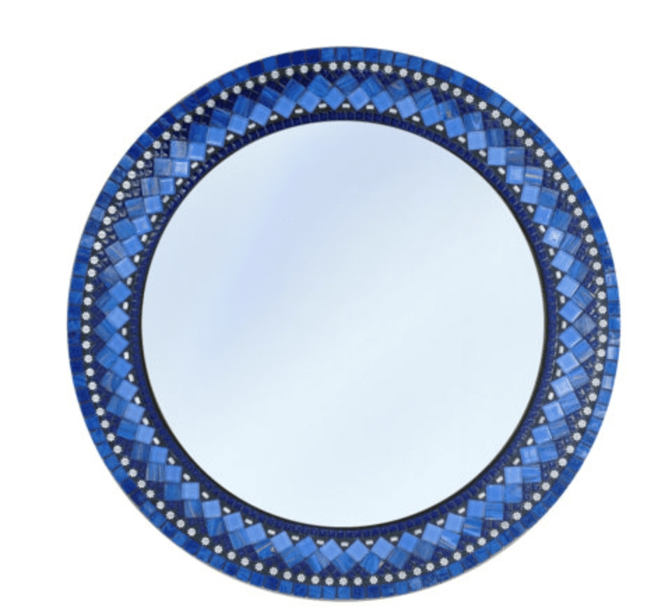 Blue Round Mosaic Mirror Throughout Blue Round Mirror (Image 2 of 15)