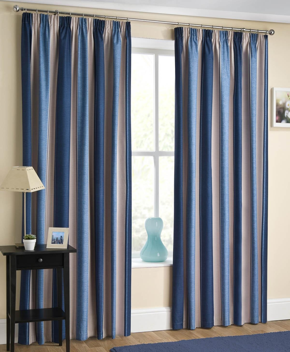 Blue Striped Curtains View Curtains Online Now Terrys Fabrics Pertaining To Thick Striped Curtains (Image 5 of 15)