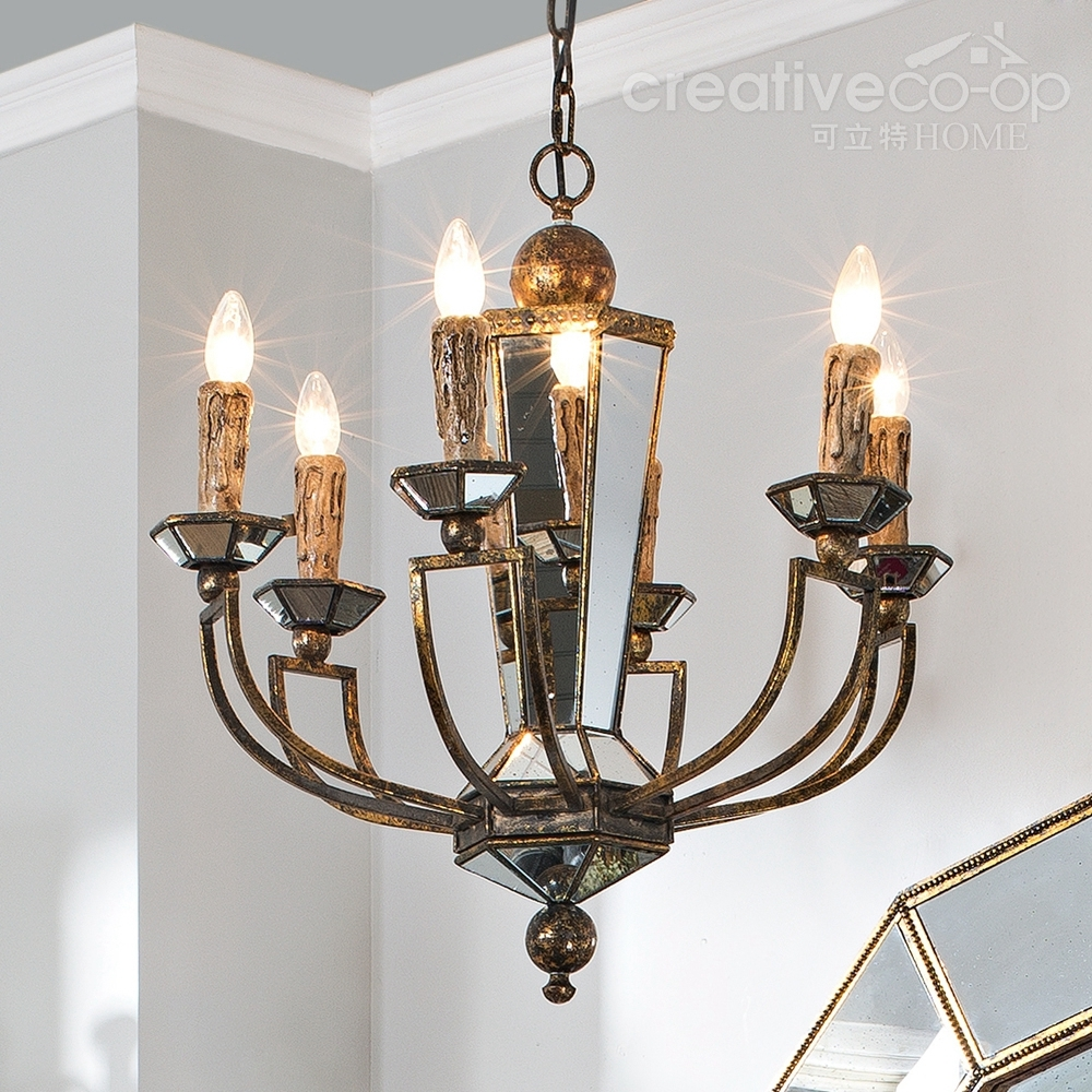 Bohemian Style Mdf Antique Glass Mirrored Chandelier Pertaining To Mirrored Chandelier (Image 4 of 15)
