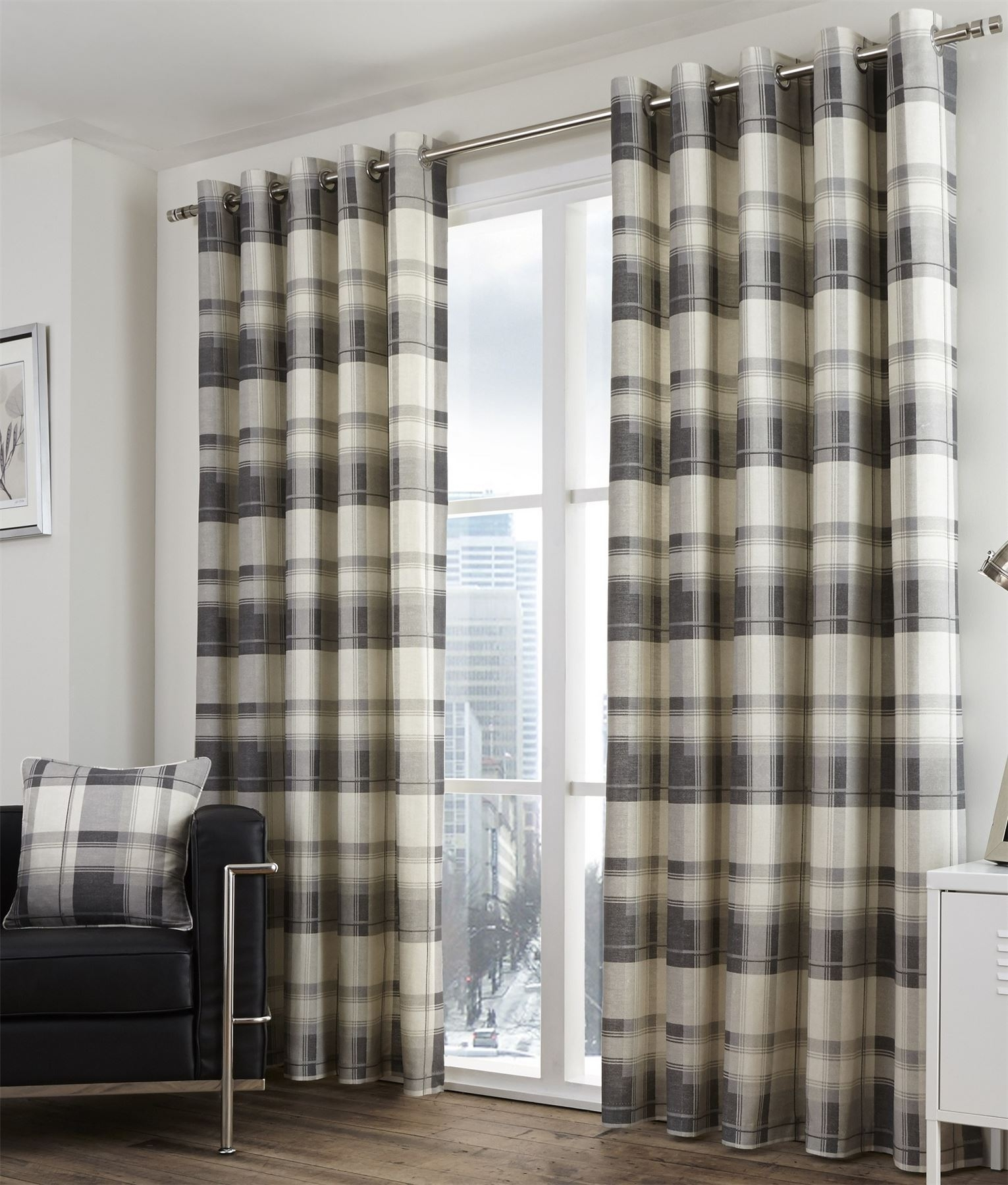 Bonnie Lined Eyelet Curtains Checked Tartan Cotton Ready Made Pair Within Lined Cotton Curtains (Image 5 of 15)