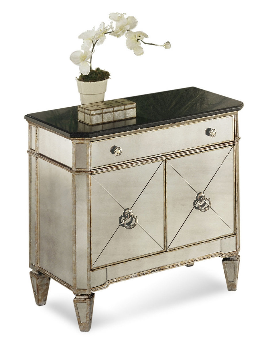 Borghese Small Mirrored Chest Antique Mirror Silver Leaf Finish With Small Antique Mirror (Image 7 of 15)