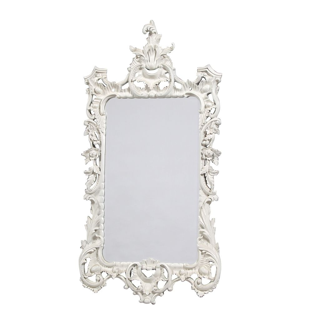 Boudoir Large French White Mirror In French White Mirror (Image 1 of 15)