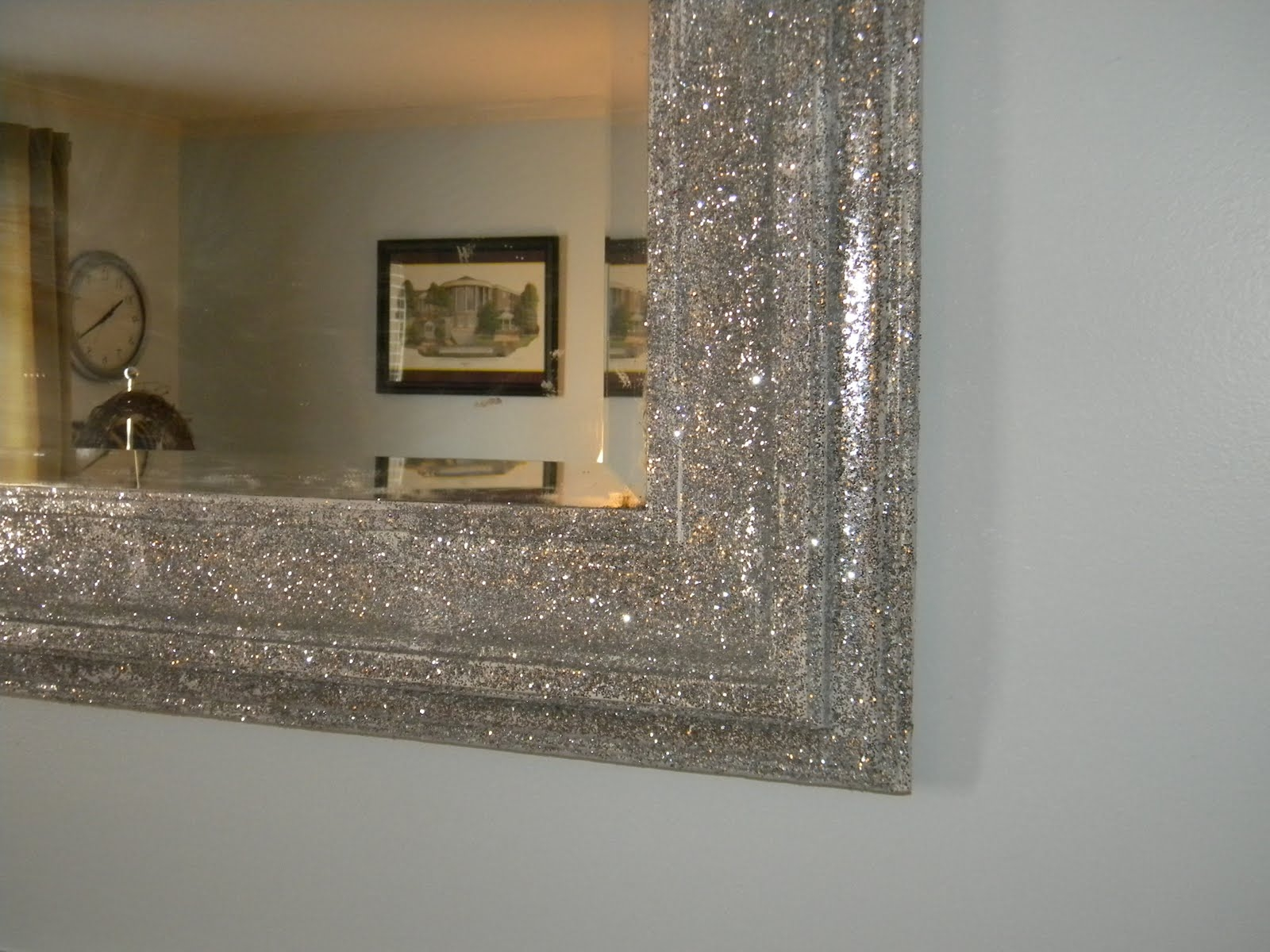 Bought A Plain Door Mirror And Covered The Frame With Glitter Tape With Silver Glitter Mirror (Image 3 of 15)