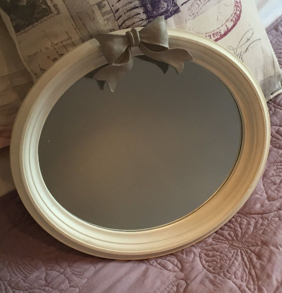 Bow Mirror Wall Mounted Oval Shab Chic Painted White Throughout Oval Shabby Chic Mirror (Image 3 of 15)