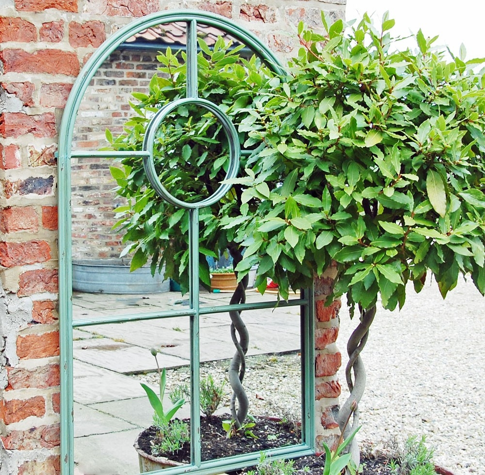 Bowley Jackson Green Metal Arched Window Garden Mirror Bowley With Garden Mirrors (Image 4 of 15)