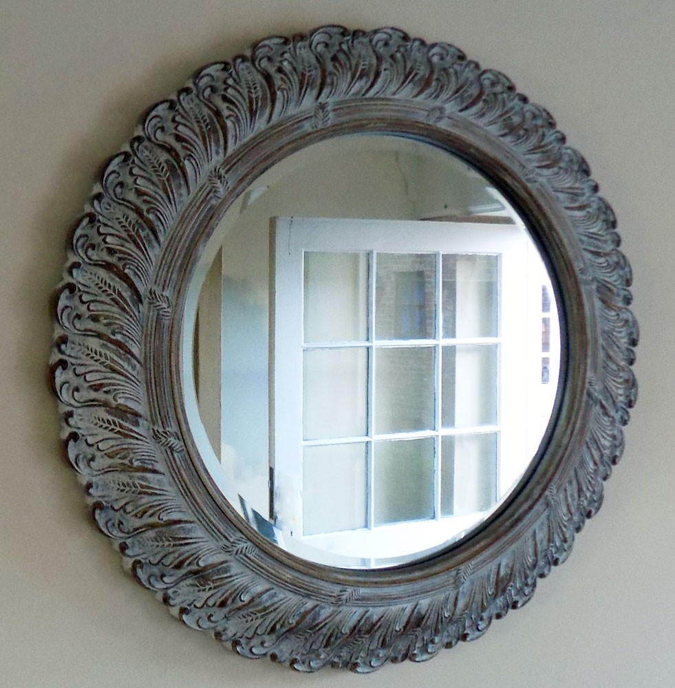 Bowley Jackson Round Wall Mounted Shab Chic French Mirror Inside Round Shabby Chic Mirror (Image 4 of 15)