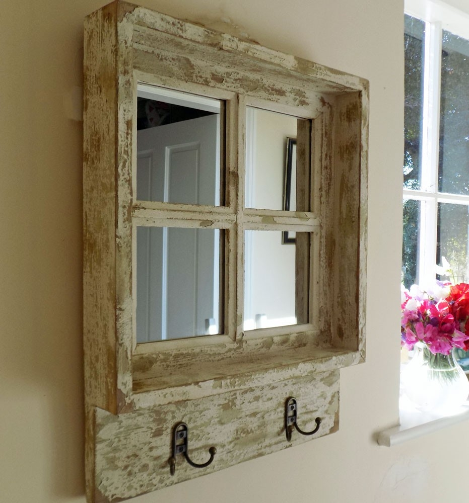 Bowley Jackson Vintage Shab Chic Square Wooden Window Mirror Inside Shabby Chic Mirror With Shelf (Image 4 of 15)
