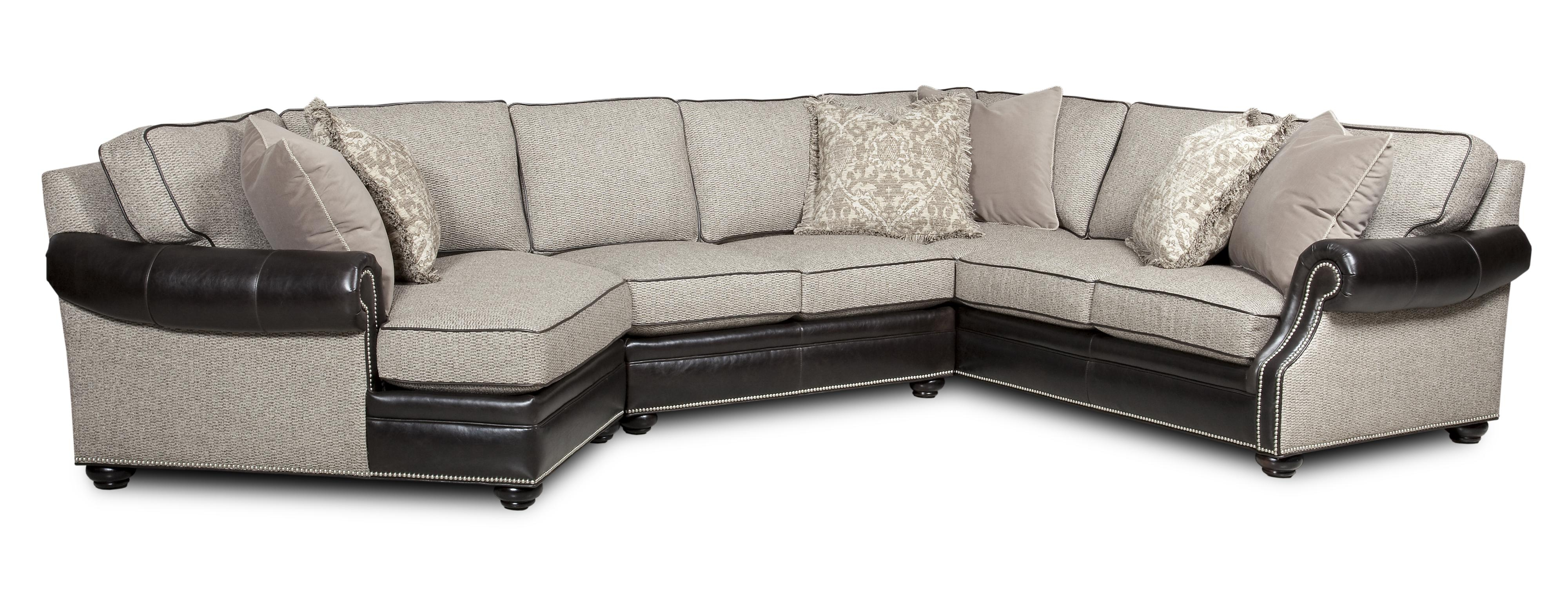 Bradington Young Warner Three Piece Sectional Sofa With Laf With Regard To Cuddler Sectional Sofa (Image 4 of 15)