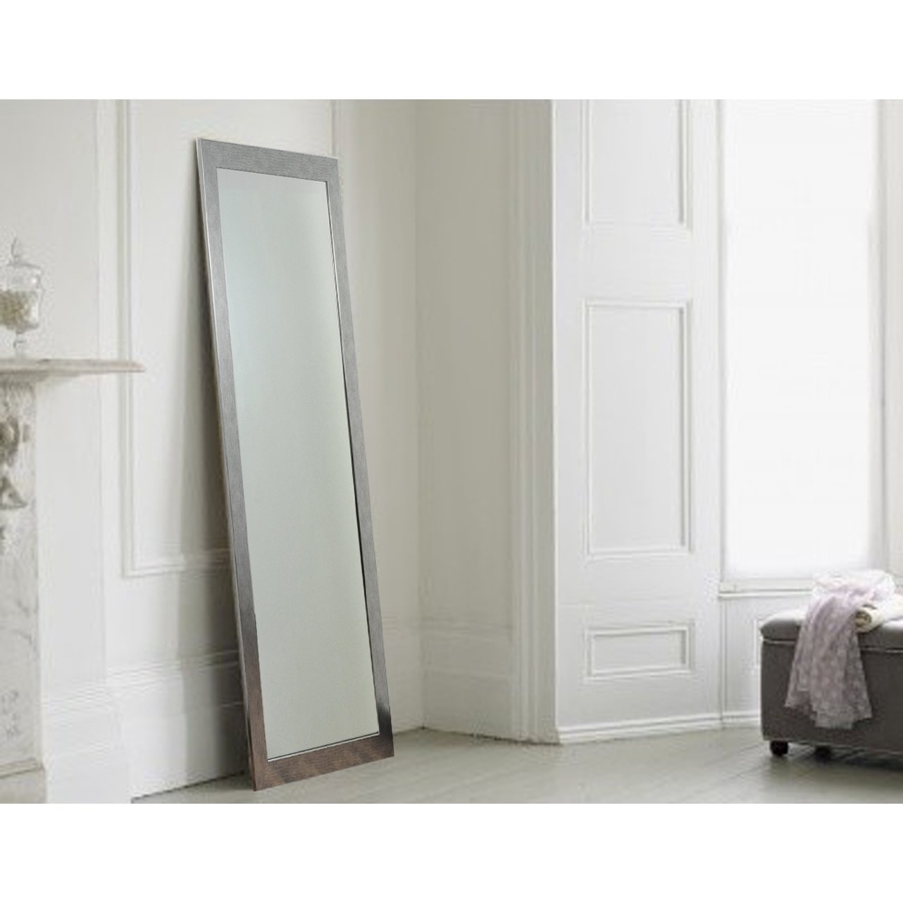 Brandtworksllc Stainless Grain Silver Tall Floor Mirror Wayfair Pertaining To Tall Silver Mirror (View 11 of 15)