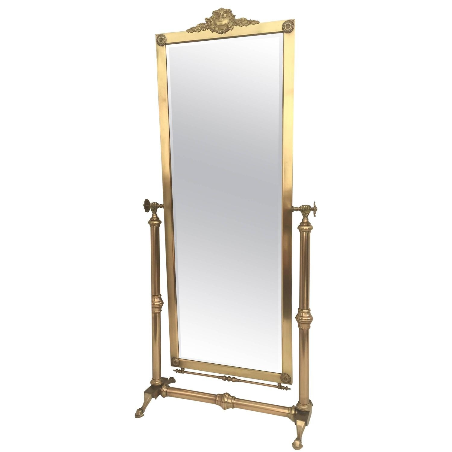 Brass Floor Mirrors And Full Length Mirrors 83 For Sale At 1stdibs With Victorian Floor Mirror (Image 3 of 15)