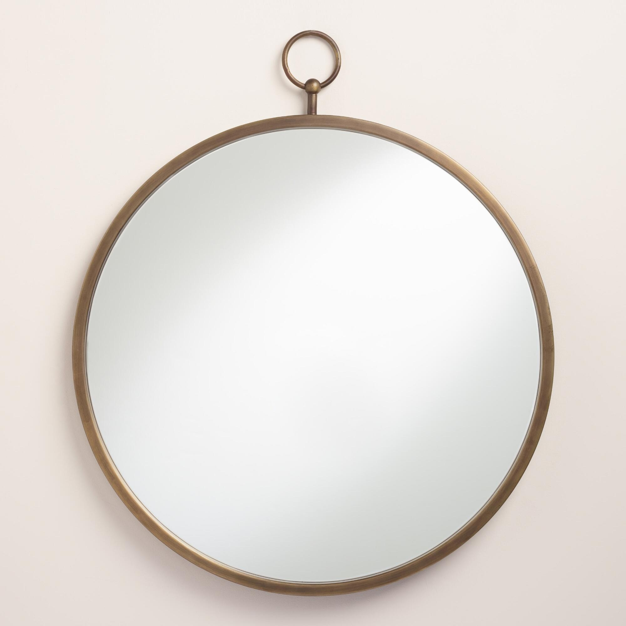 Brass Metal Loop Mirror Round Mirrors And Antique Brass In Antique Round Mirrors (View 8 of 15)
