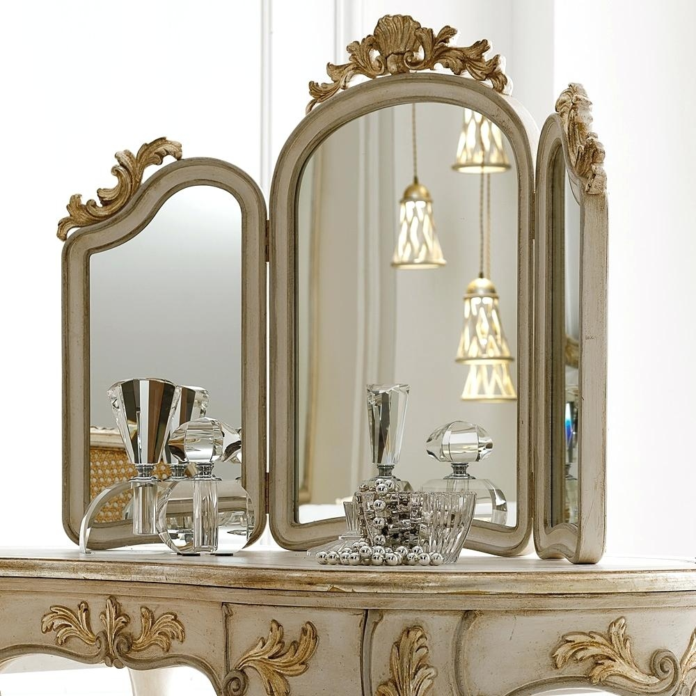 Brass Round Mirror Amalfi Dressing Table Stool Set Dresser 3 Intended For Free Standing Dressing Table Mirrors (Image 3 of 15)