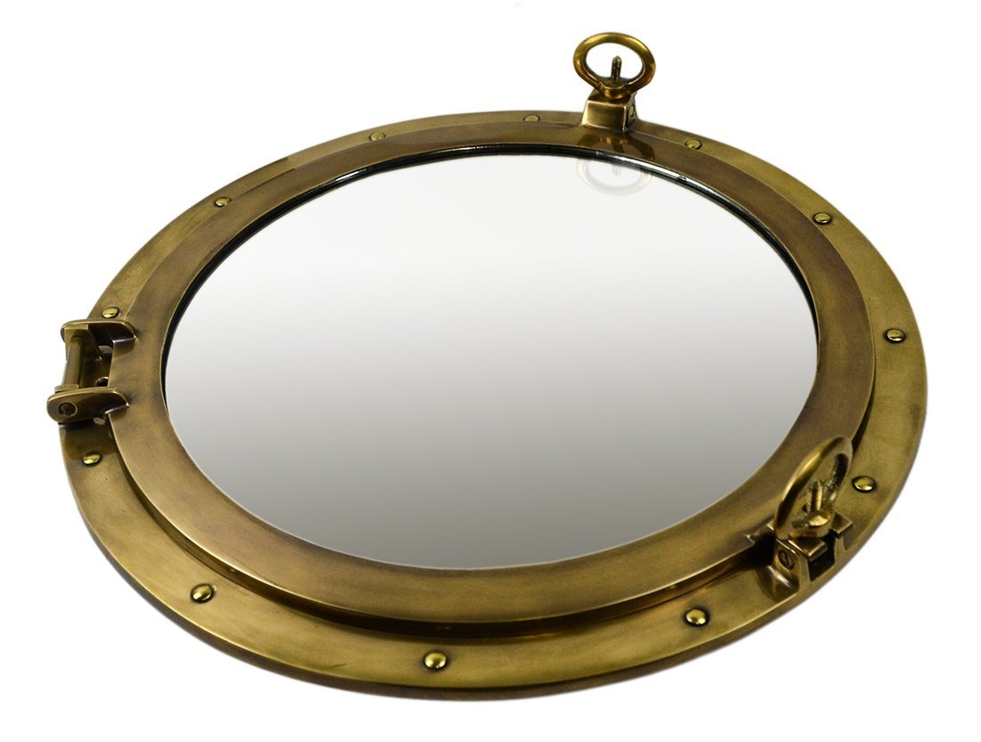 Brass Ships Porthole Mirrors Nickle Finish Porthole Mirrors Chrome Inside Porthole Mirrors (Image 2 of 15)
