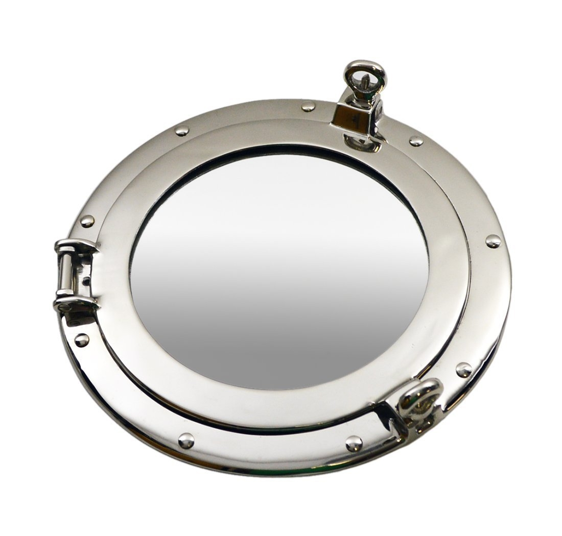 Brass Ships Porthole Mirrors Nickle Finish Porthole Mirrors Chrome Intended For Chrome Porthole Mirror (Image 3 of 15)