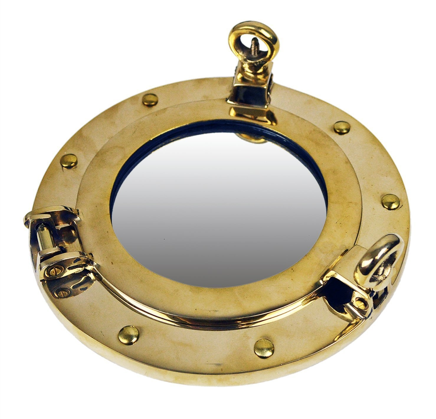 Brass Ships Porthole Mirrors Nickle Finish Porthole Mirrors Chrome Pertaining To Chrome Porthole Mirror (Image 4 of 15)