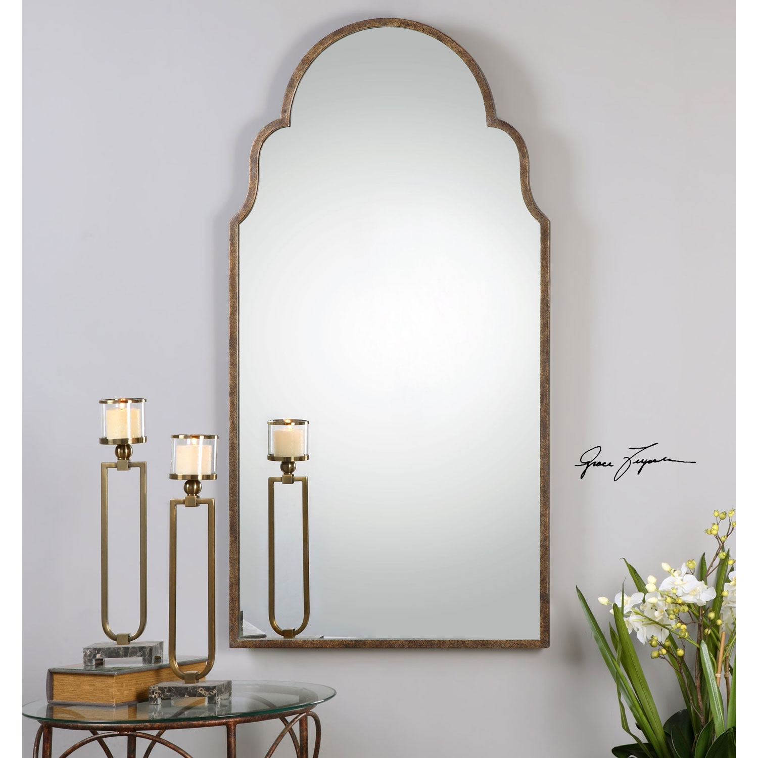 Brayden Rust Bronze Arch Mirror Uttermost Arched Crowned Mirrors With Regard To Arched Mirrors (Image 9 of 15)