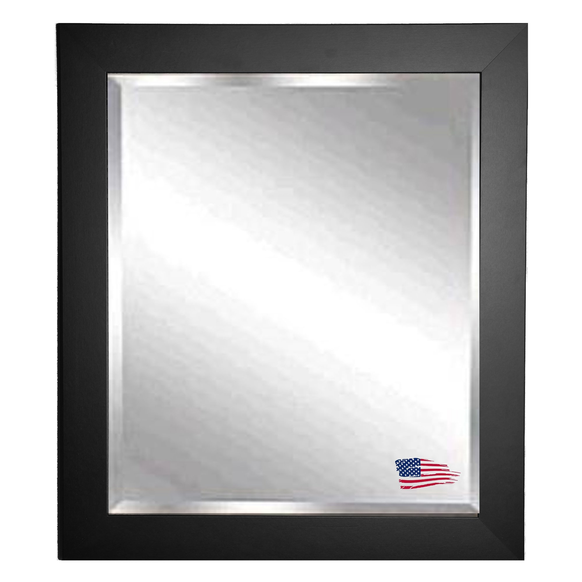 Brayden Studio Black Satin Wide Wall Mirror Reviews Wayfair Within Bevelled Wall Mirror (Image 2 of 15)