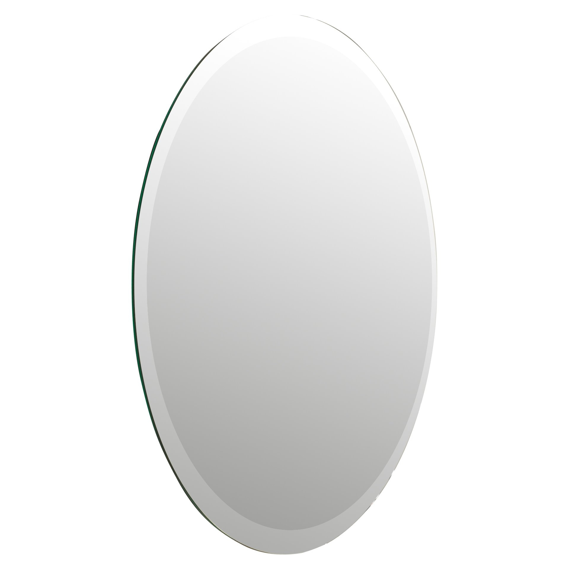 Brayden Studio Oval Bevel Frameless Wall Mirror Reviews Wayfair In White Oval Wall Mirror (Image 2 of 15)