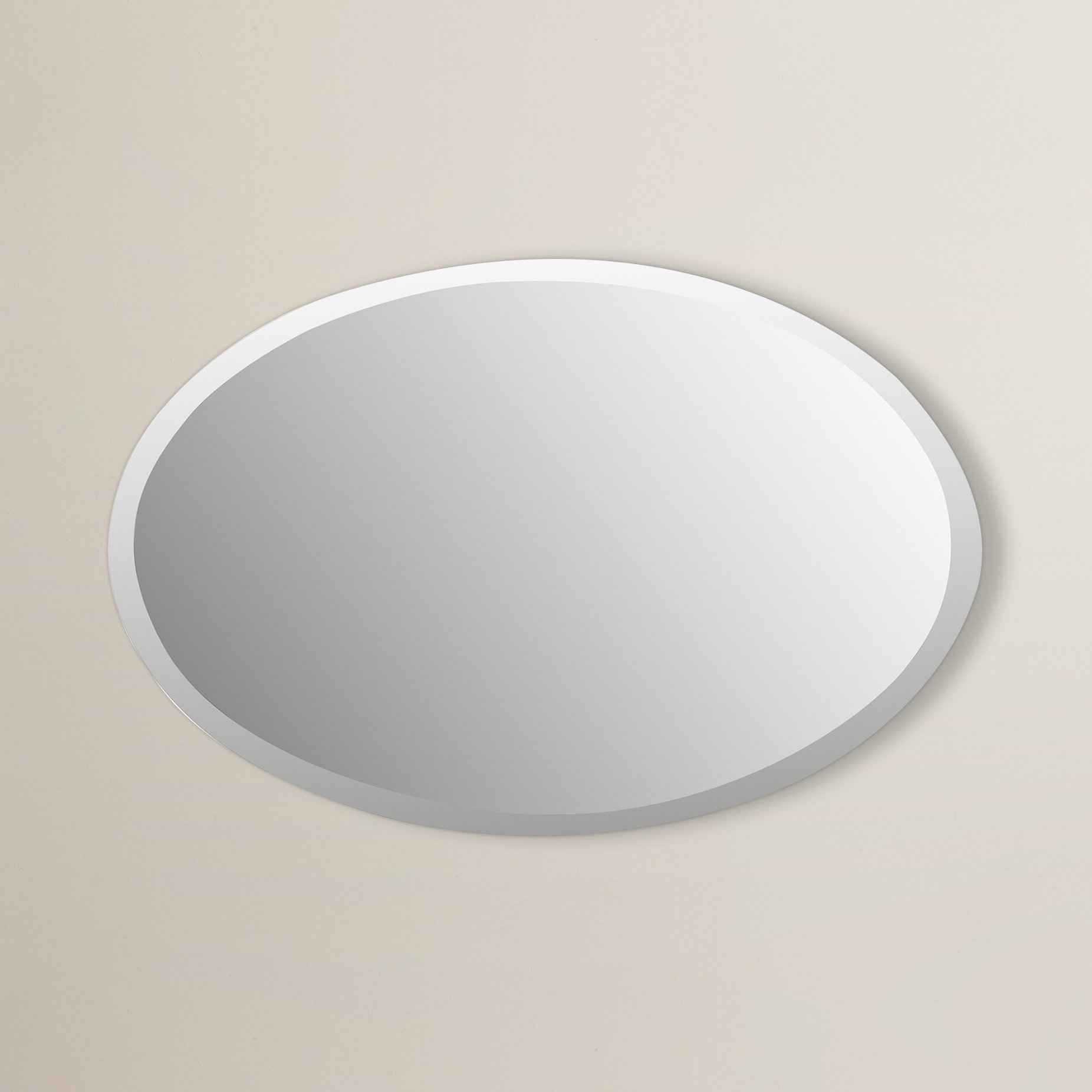 Brayden Studio Oval Bevel Frameless Wall Mirror Reviews Wayfair With Regard To Oval Bevelled Mirror (View 6 of 15)