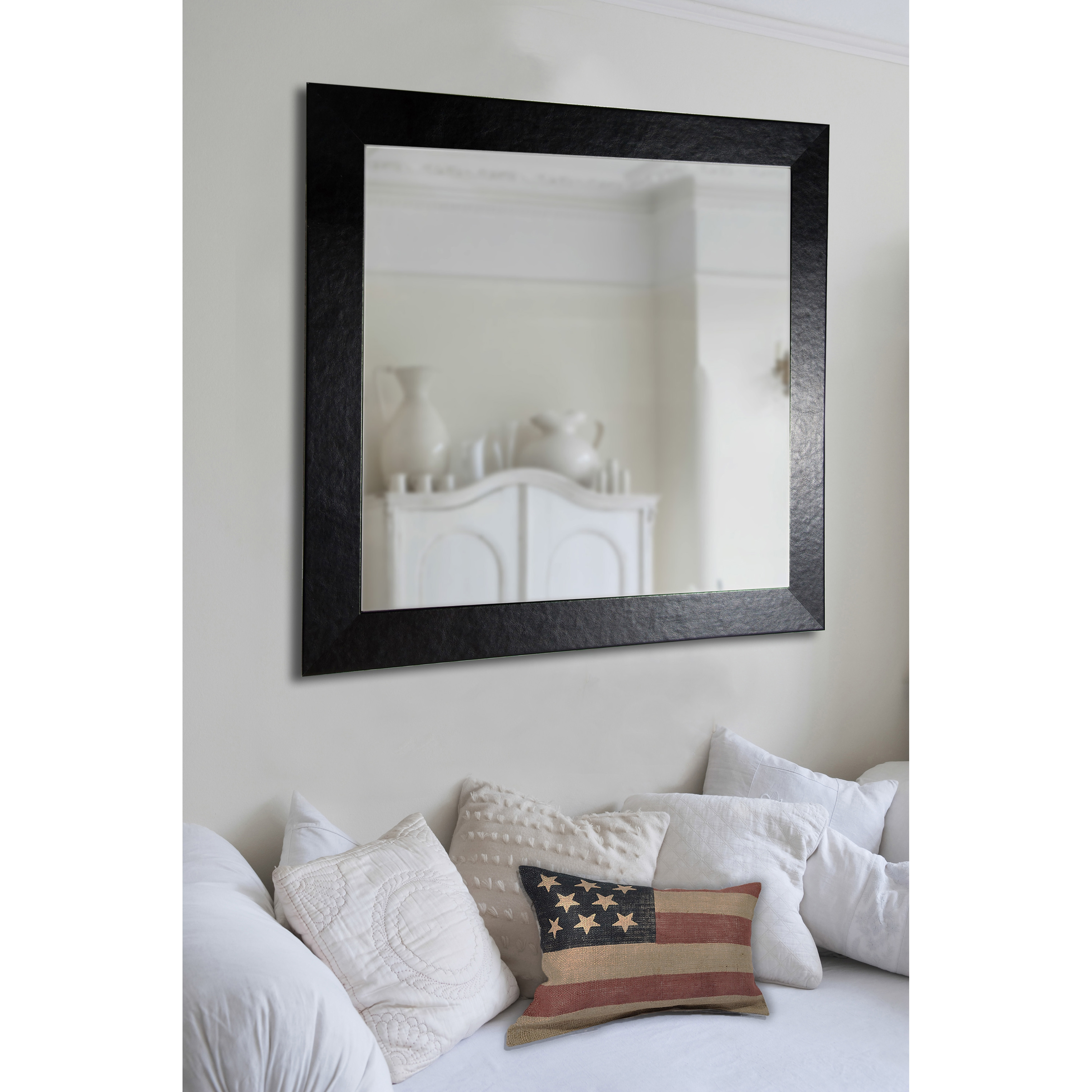 Brayden Studio Rectangle Black Wide Leather Wall Mirror Wayfair Throughout Leather Wall Mirror (View 3 of 15)
