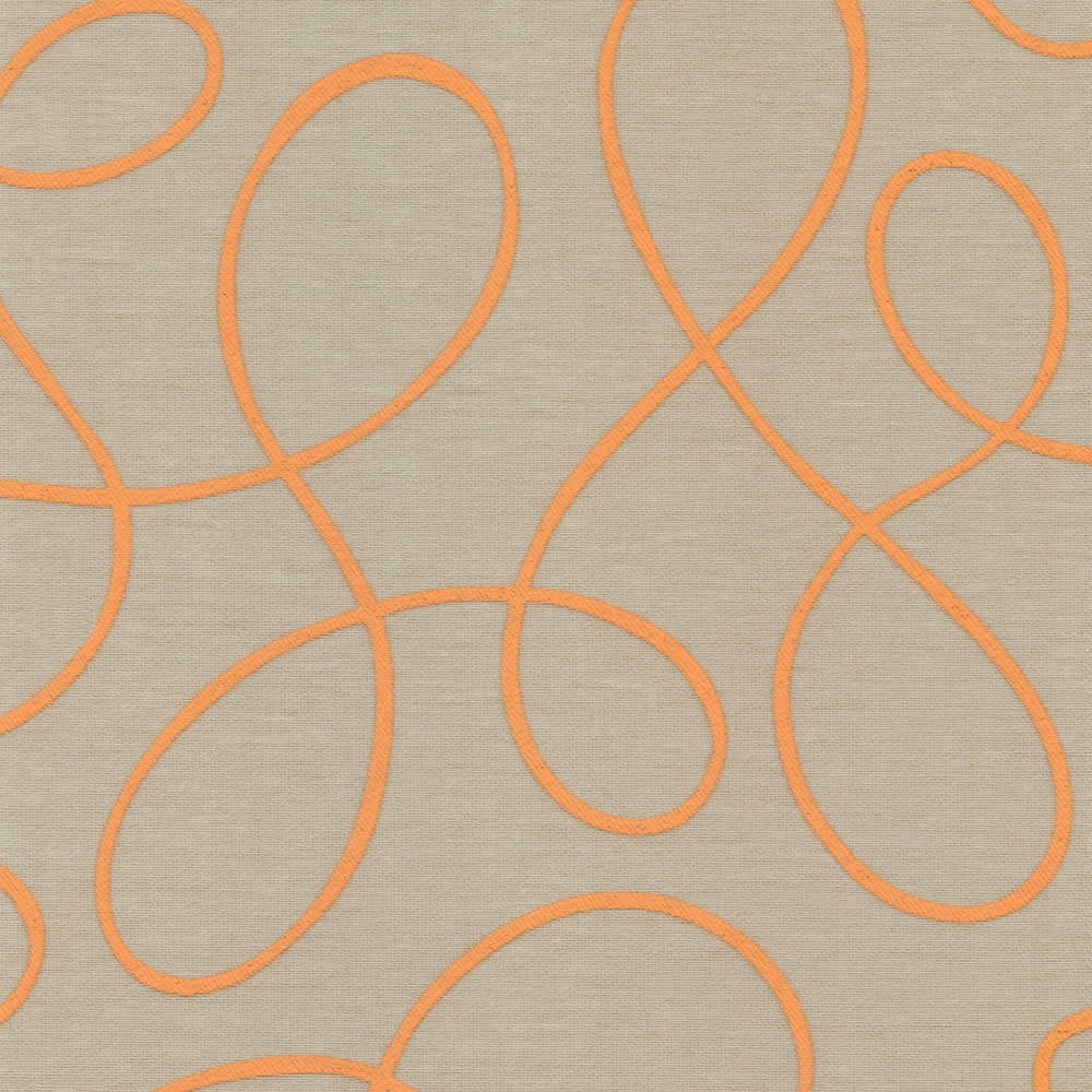 Bright Orange Taupe Squiggle Patterned Roller Blinds Within Orange Roller Blinds (Image 4 of 15)