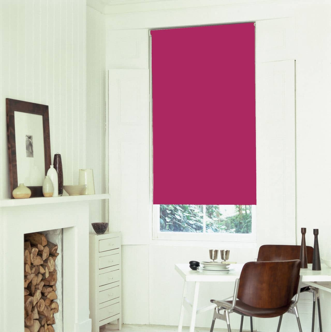Bright Pink Fuschia Blackout Roller Blind With Thermal Insulating Regarding Blackout Thermal Blinds (Image 3 of 15)