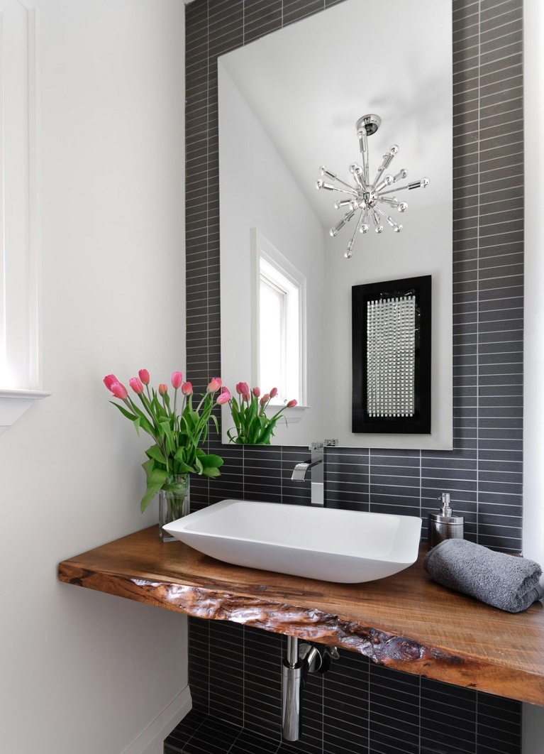 Bring Living Room Style To Your Powder Room Modern Interior With Regard To Modern Bathroom Chandeliers (Image 12 of 15)