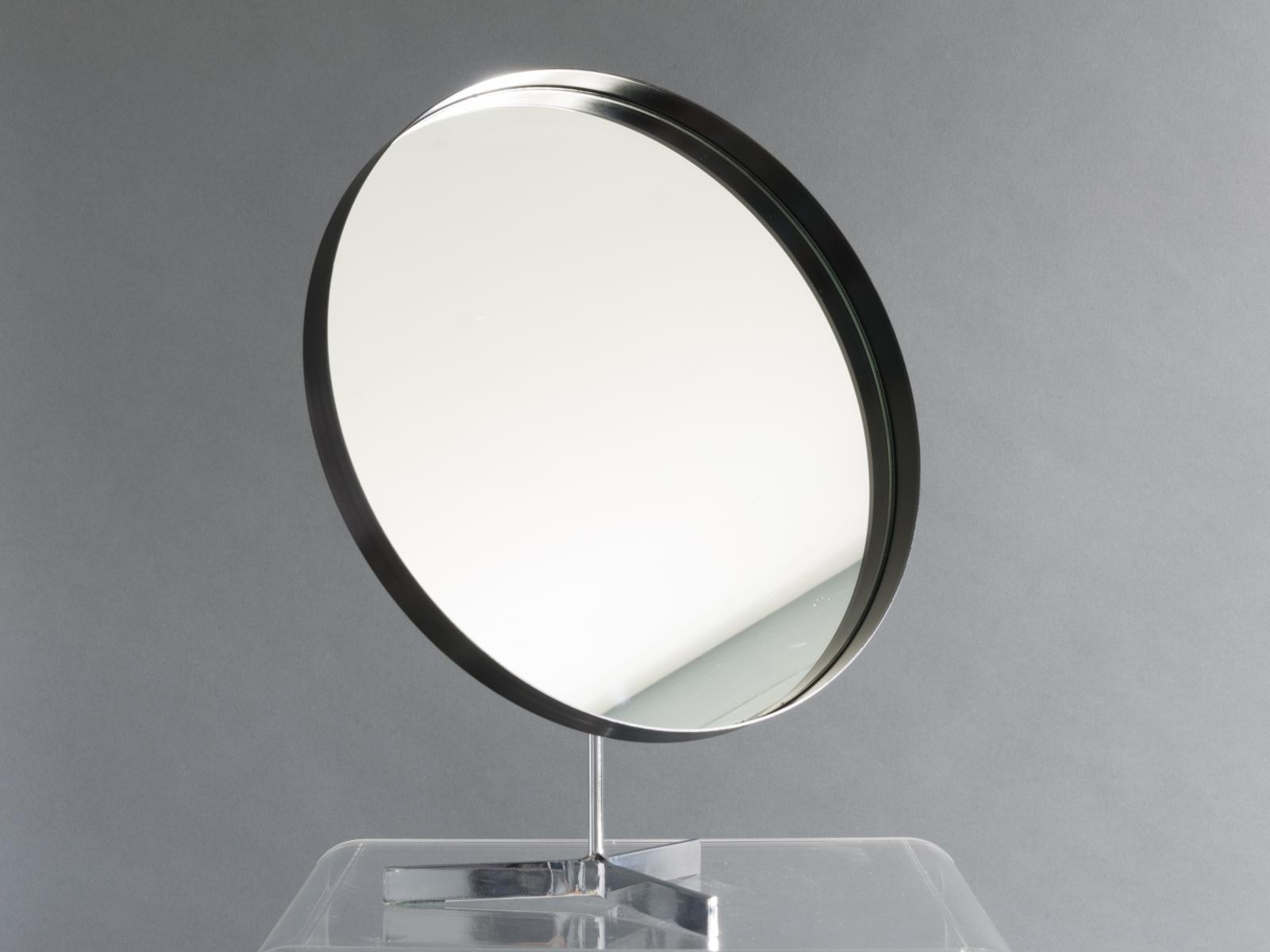 British Large Black And Chrome Tripod Mirror From Durlston Designs With Regard To Large Black Mirrors For Sale (Image 7 of 15)