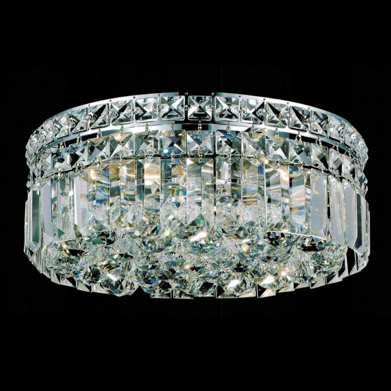 Brizzo Lighting Stores 12 Bossolo Transitional Crystal Round Regarding Flush Chandelier (View 11 of 15)