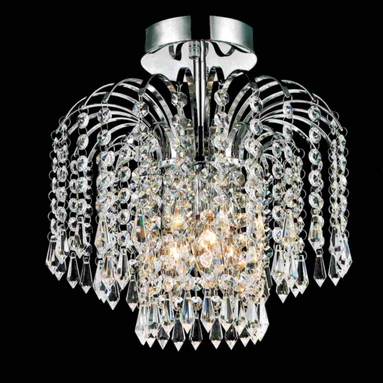 Brizzo Lighting Stores 12 Fountain Crystal Semi Flush Mount Throughout Small Chrome Chandelier (Image 2 of 15)