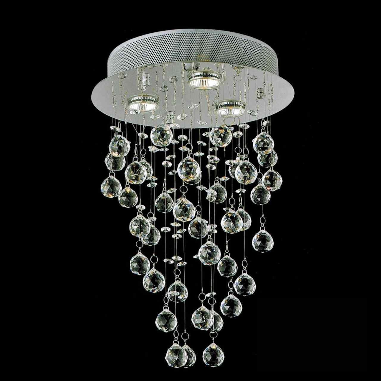 Brizzo Lighting Stores 18 Raindrops Modern Foyer Crystal Round Pertaining To Mirror Chandelier (Image 4 of 15)