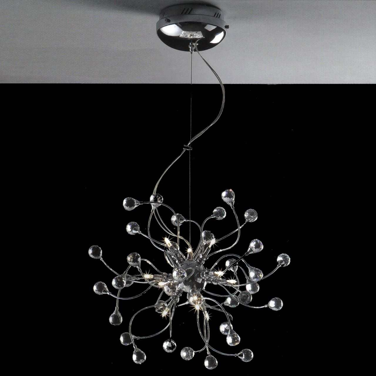 Brizzo Lighting Stores 18 Sfera Modern Crystal Round Chandelier Intended For Modern Chrome Chandelier (Image 3 of 15)