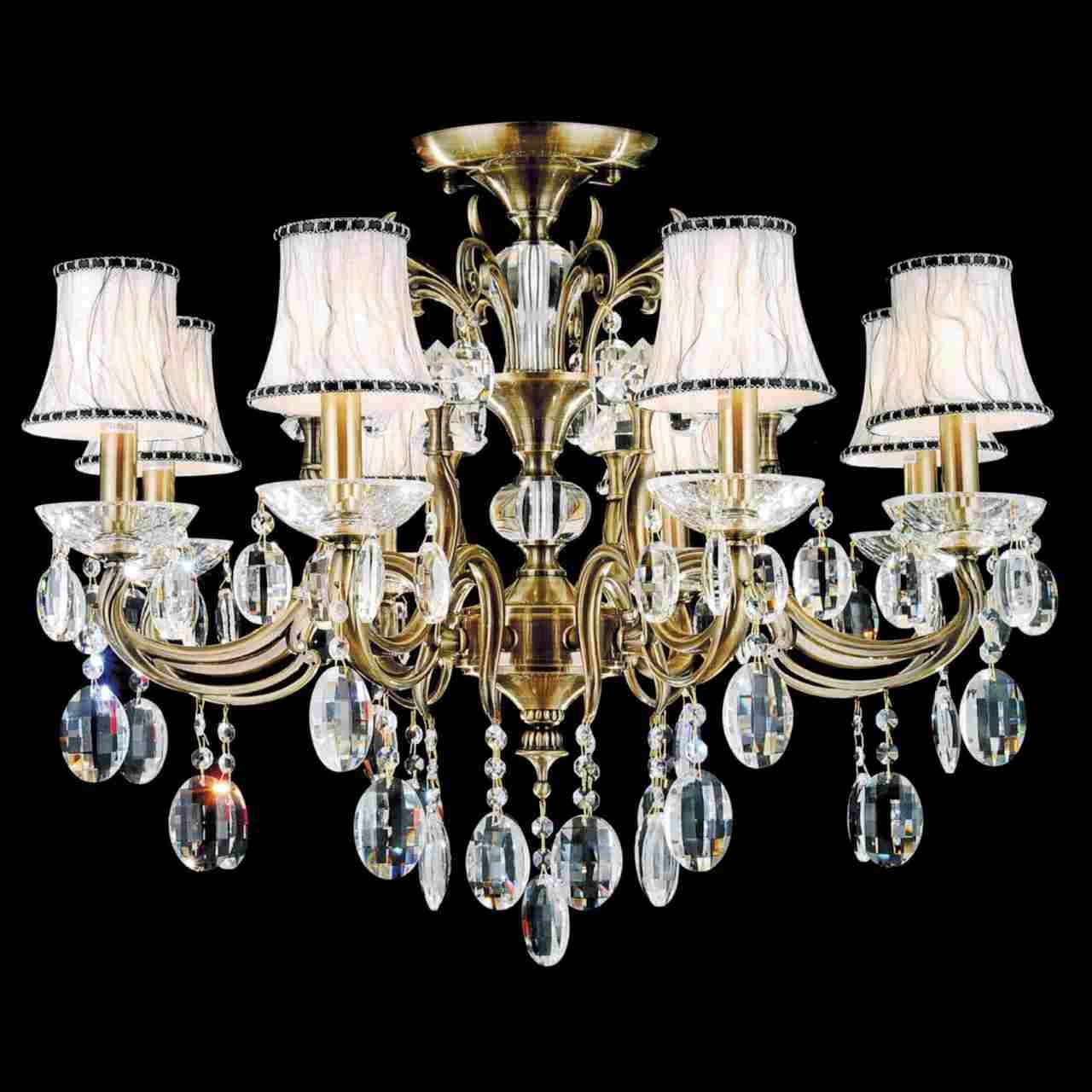 Brizzo Lighting Stores 30 Ottone Traditional Candle Round Flush Regarding Crystal And Brass Chandelier (View 14 of 15)
