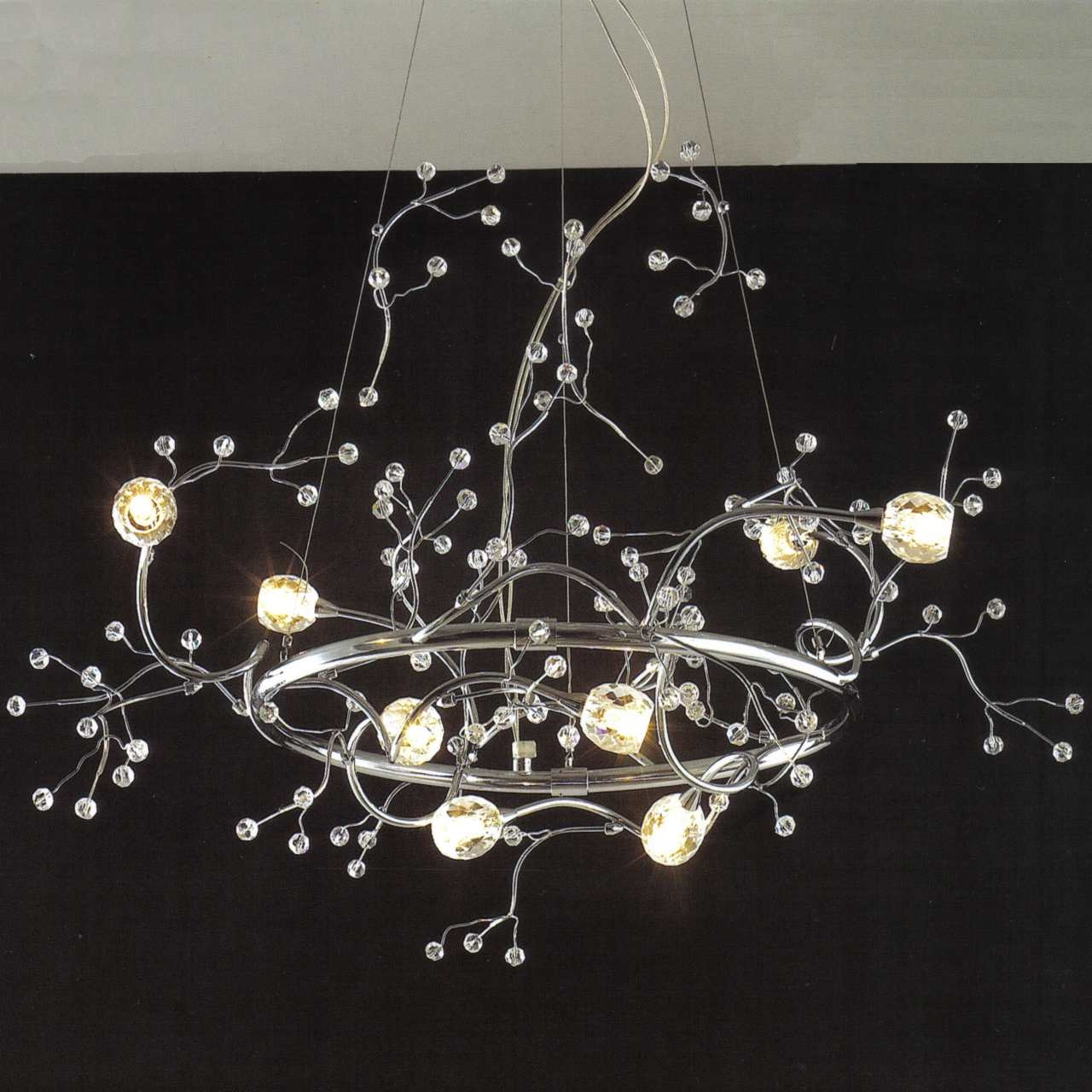 Brizzo Lighting Stores 32 Albero Modern Crystal Round Branch With Branch Crystal Chandelier (Image 6 of 15)