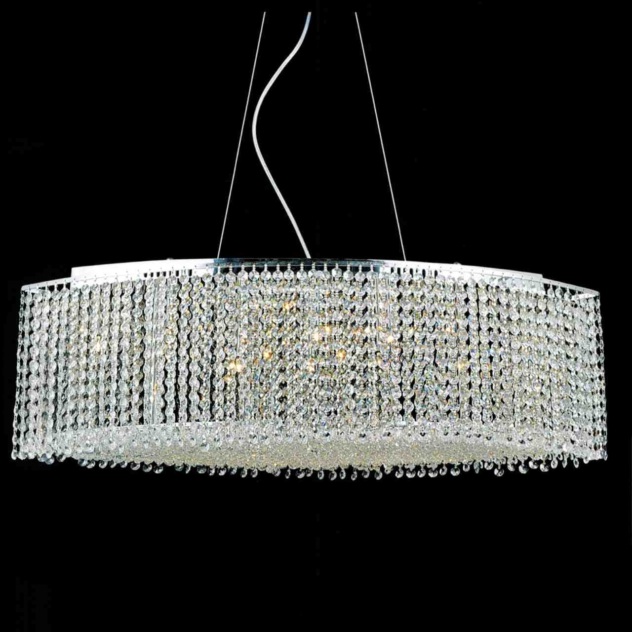 Brizzo Lighting Stores 35 Rainbow Modern Linear Crystal In Crystal And Chrome Chandeliers (Image 8 of 15)