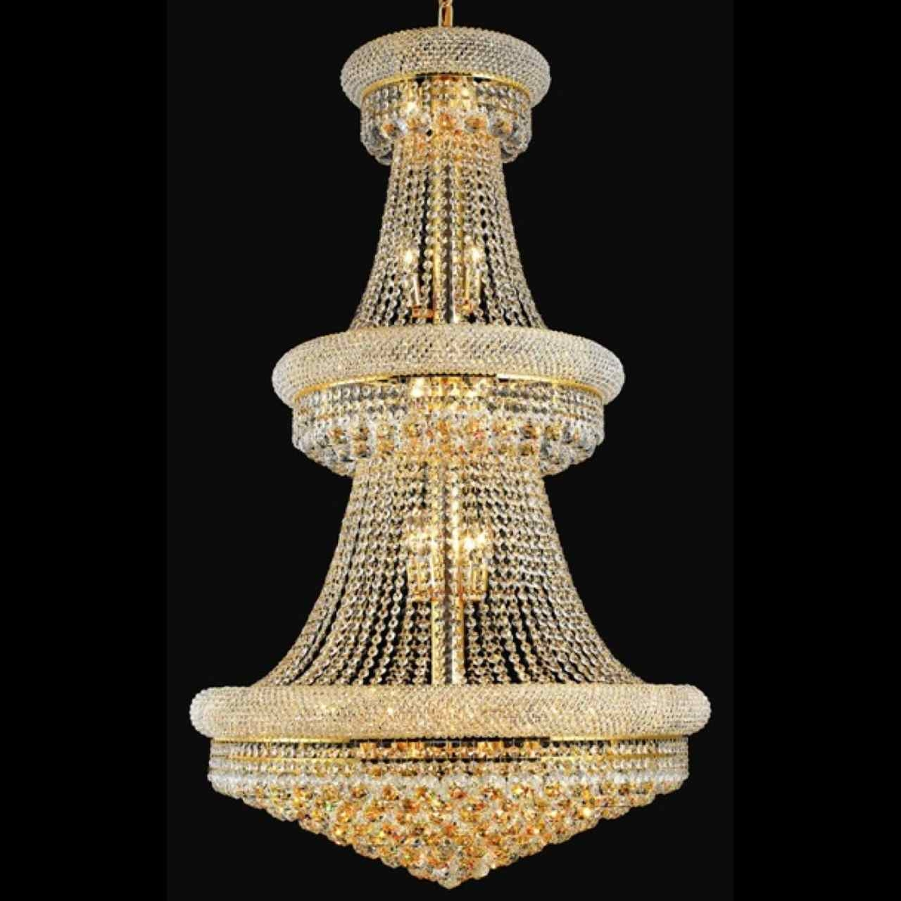 Brizzo Lighting Stores 50 Empire Crystal Large Foyer Round 3 Pertaining To 3 Tier Crystal Chandelier (Image 5 of 15)