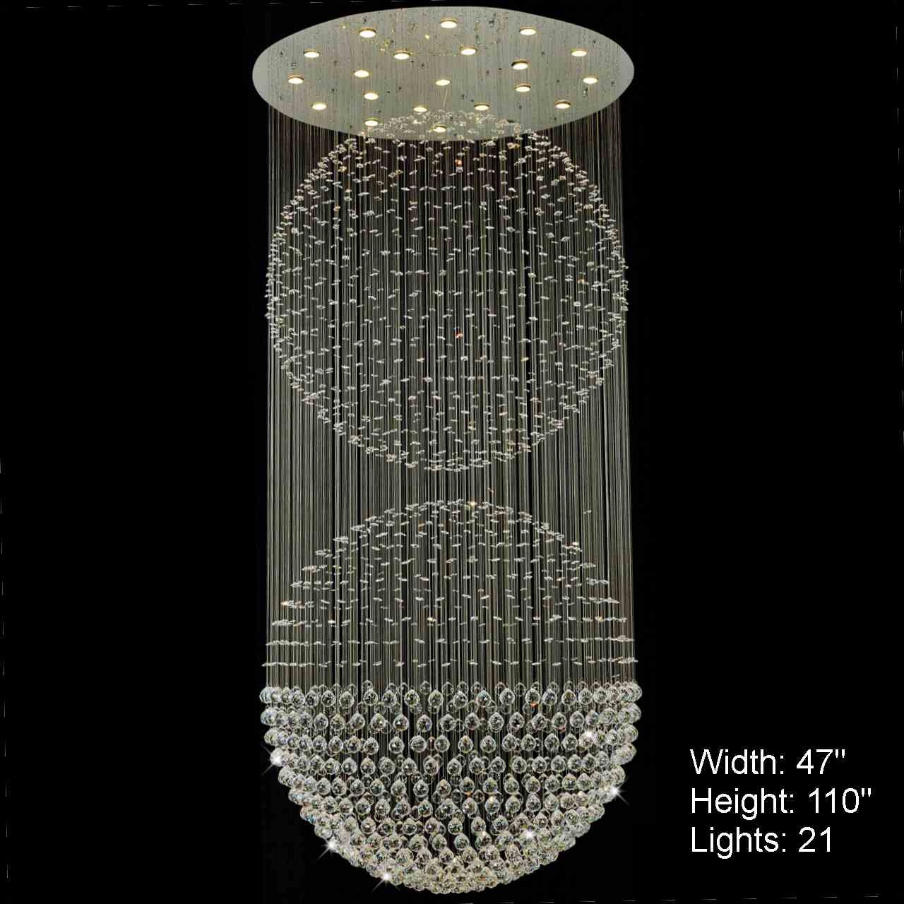 Brizzo Lighting Stores Double Sphere Modern Foyer Crystal With Chandelier Mirror (Image 5 of 15)