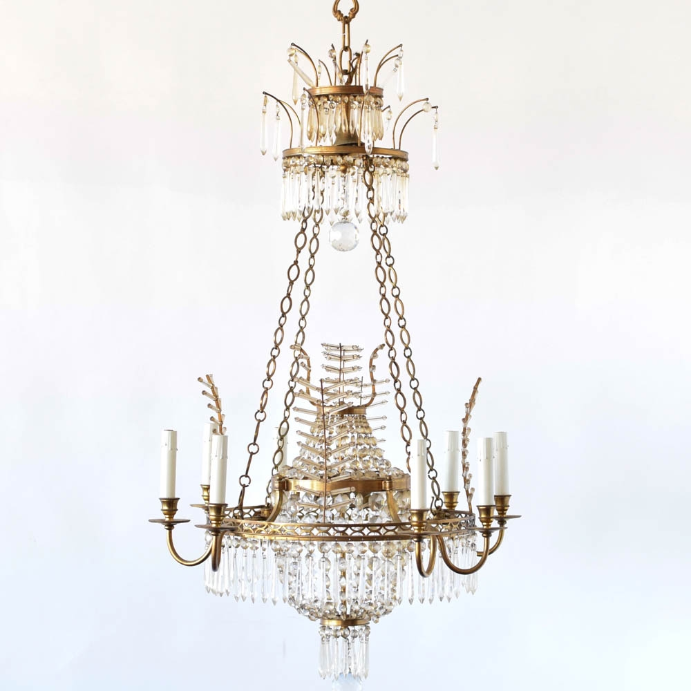 Bronze Chandelier W Crystal Branch Forms The Big Chandelier Intended For Crystal Branch Chandelier (Image 4 of 15)
