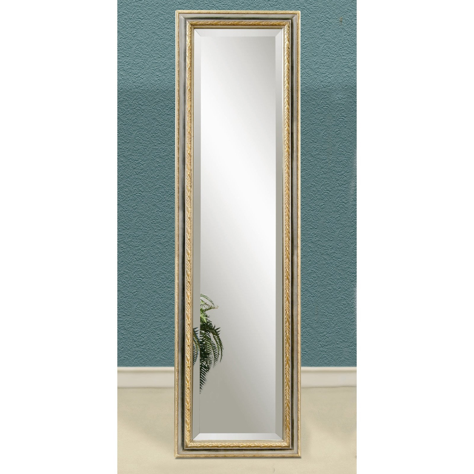Bronze Gold Full Length Cheval Floor Mirror 17w X 63h In In Silver Cheval Mirror (Image 5 of 15)