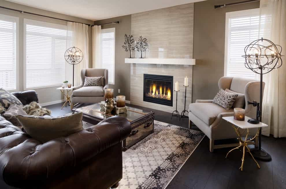 Featured Image of Brown Ceramic Wall Tiles For Classic Fireplace