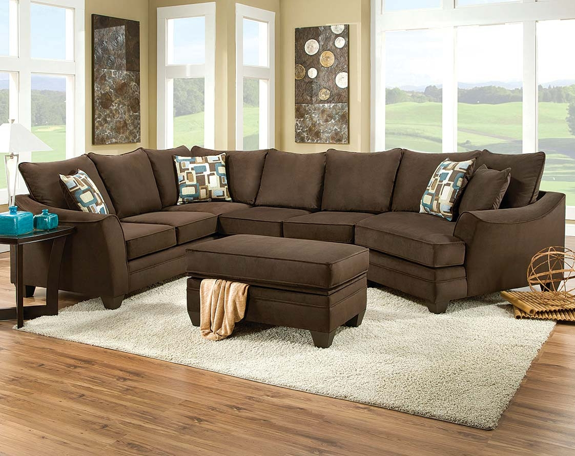 Brown Couch With Cuddler Flannel Chocolate 3 Piece Sectional With Regard To Cuddler Sectional Sofa (Image 5 of 15)