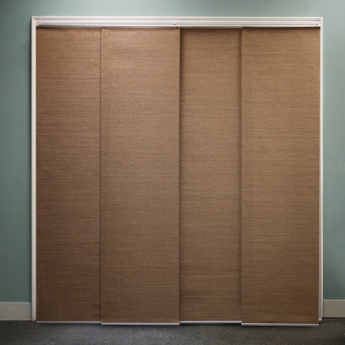 Brown Cream Fabric Panel Sliding Curtain With Floral And Stripped Regarding Fabric Doorway Curtains (Image 2 of 15)