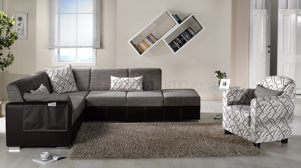 Brown Fabric Leatherette Base Convertible Sectional Sofa Bed Regarding Convertible Sectional Sofas (Image 1 of 15)
