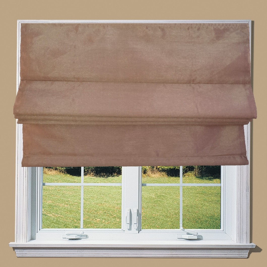 Brown Faux Silk Lined Roman Blind In Silk Roman Blinds (Image 2 of 15)