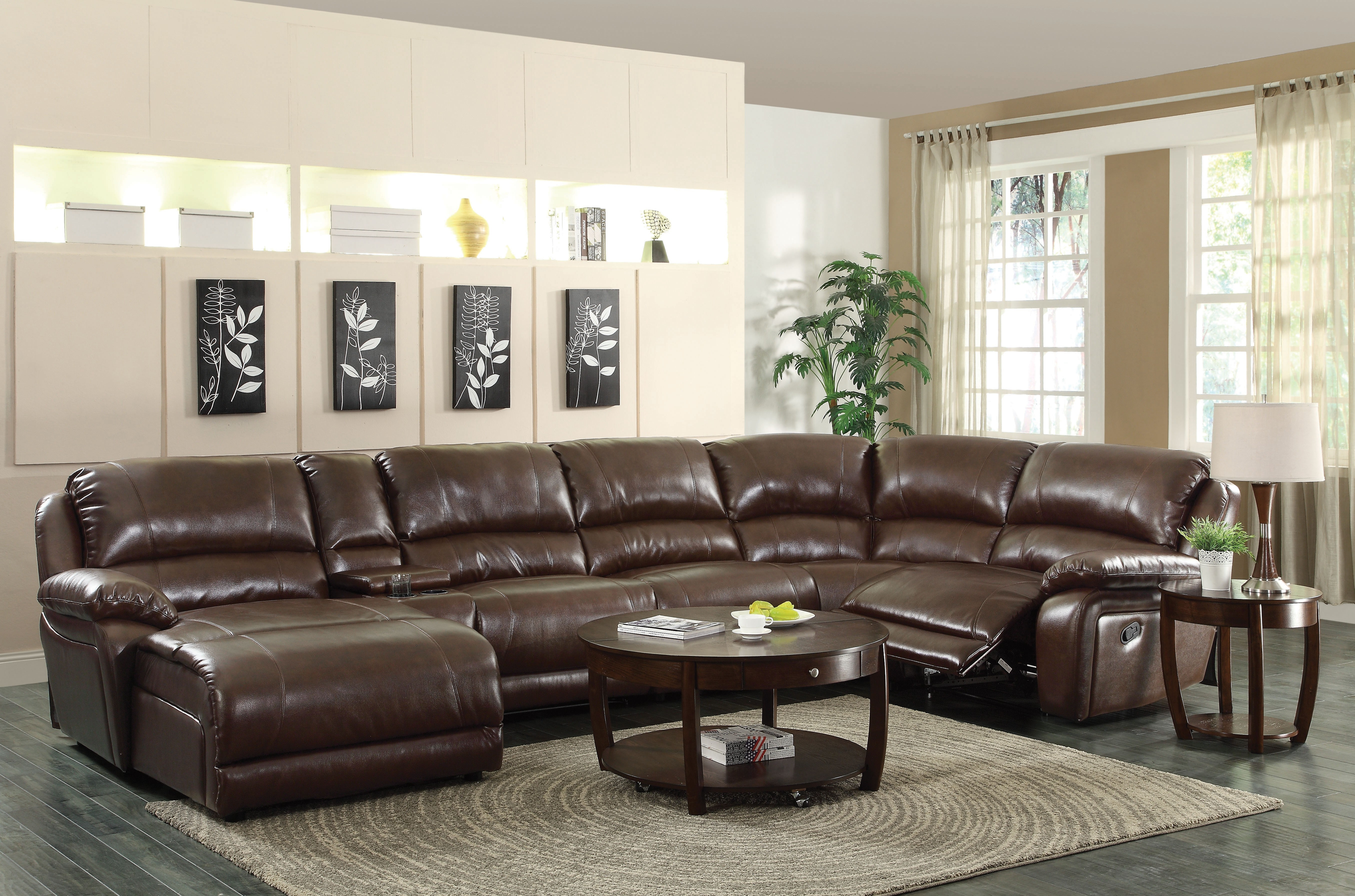 Brown Leather Sectional Sofa With Chaise Inside 6 Piece Leather Sectional Sofa (Image 2 of 15)